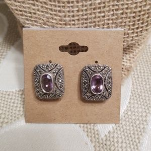 Sterling silver post earrings with amethyst